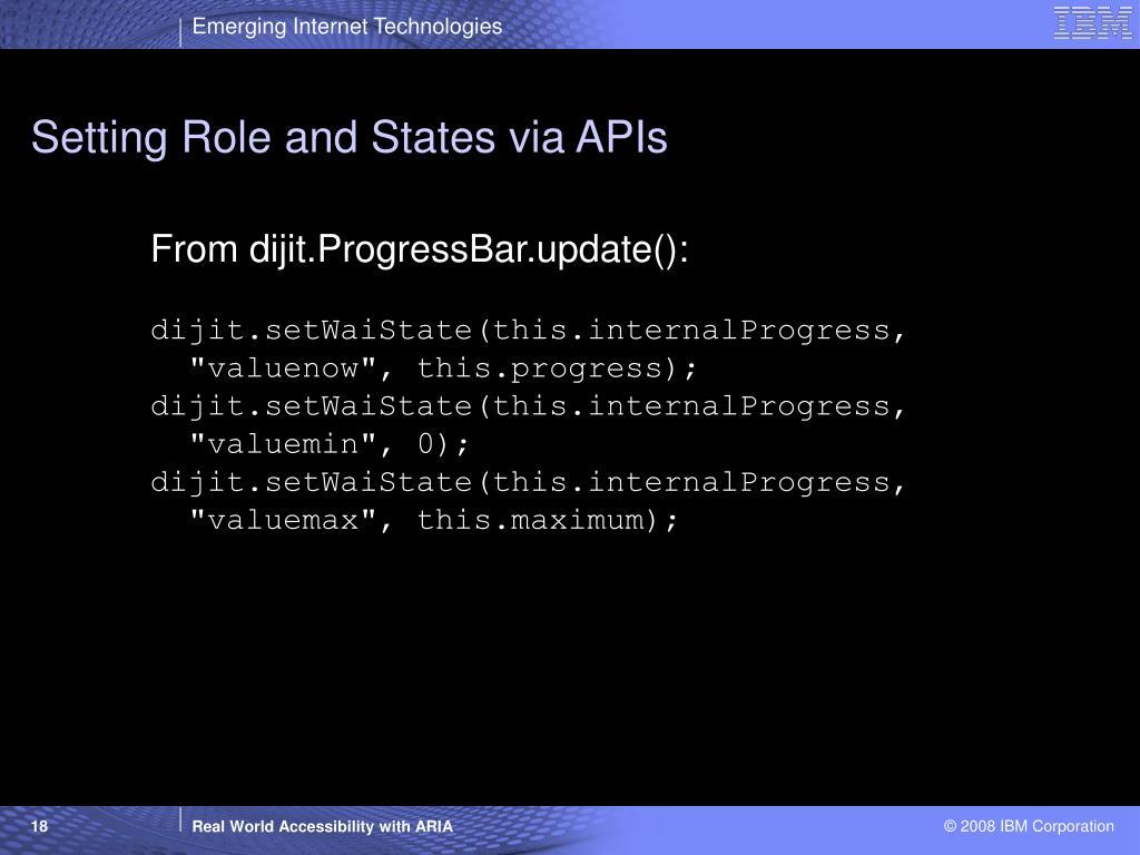 Setting Role and States via APIs