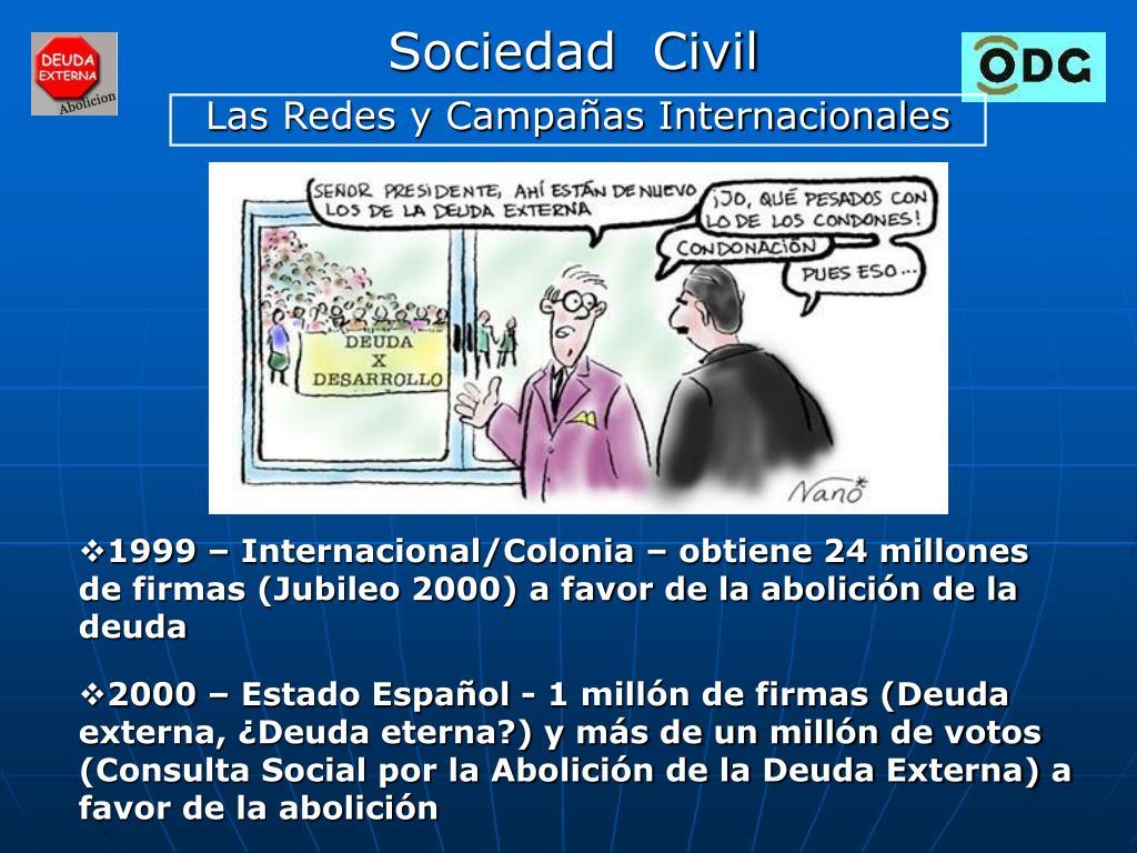 1999 – Internacional/Colonia – obtiene 24 millones de firmas (Jubileo 2000) a favor de la abolición de la deuda