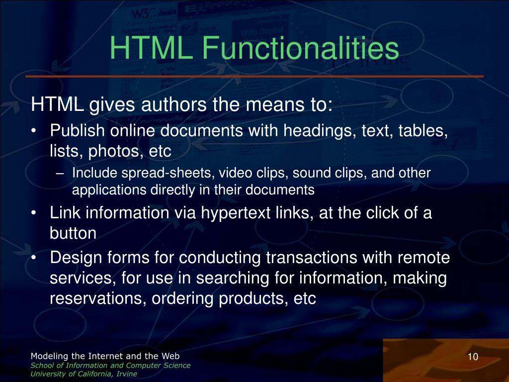HTML Functionalities