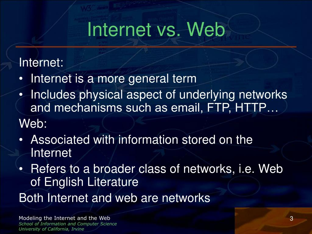 Internet vs. Web