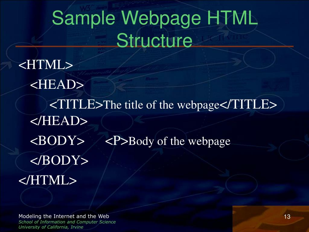 Sample Webpage HTML Structure