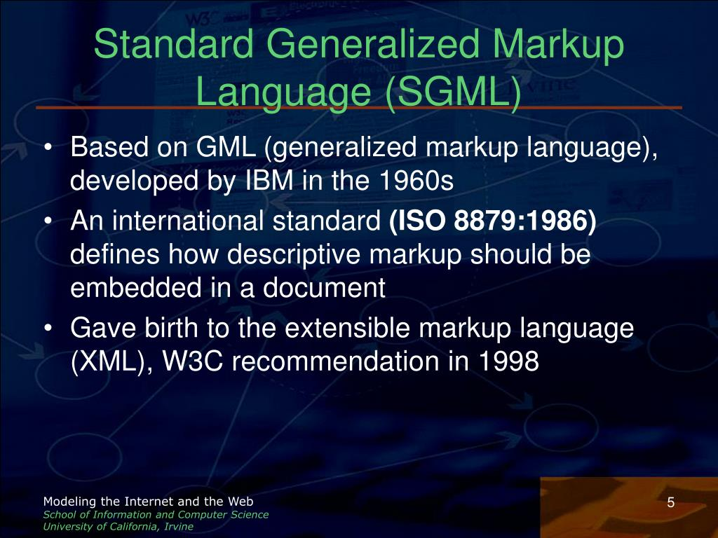 Standard Generalized Markup Language (SGML)