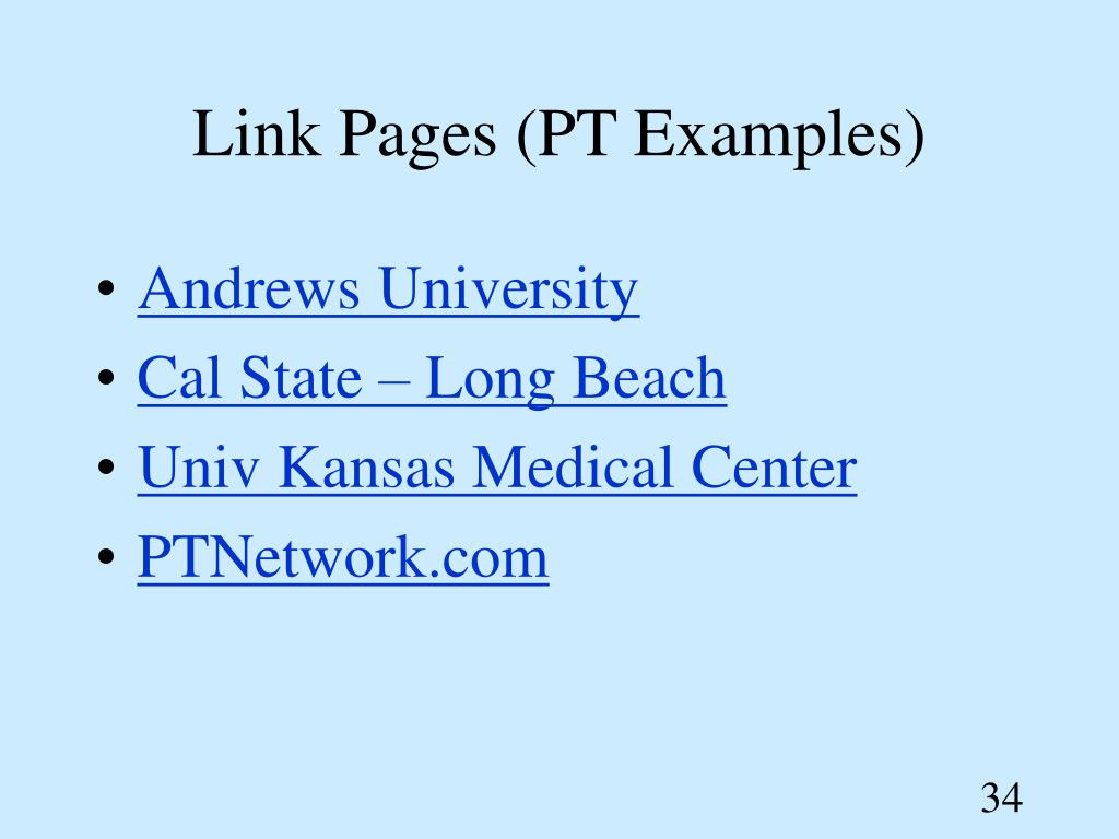 Link Pages (PT Examples)