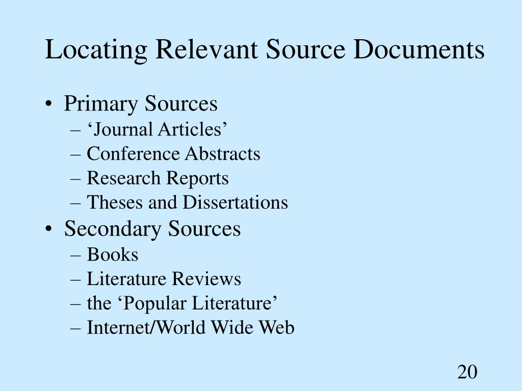 Locating Relevant Source Documents