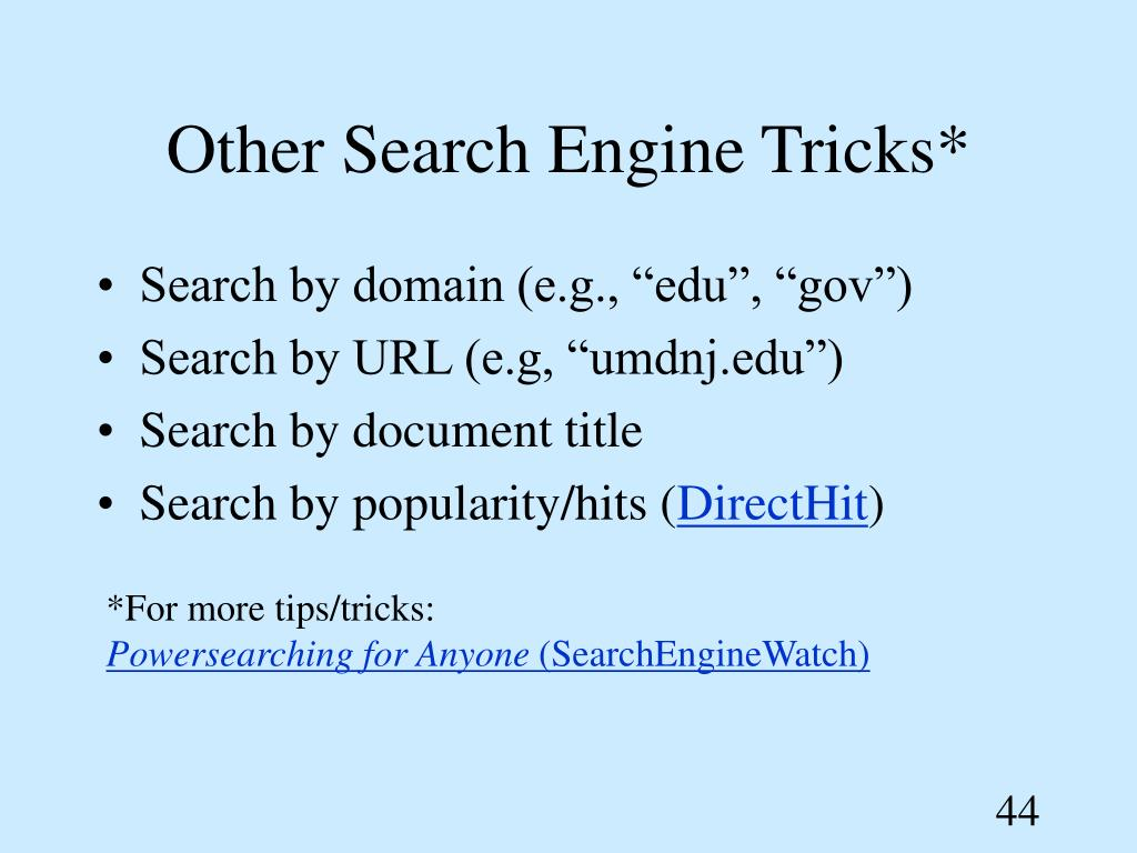 Other Search Engine Tricks*