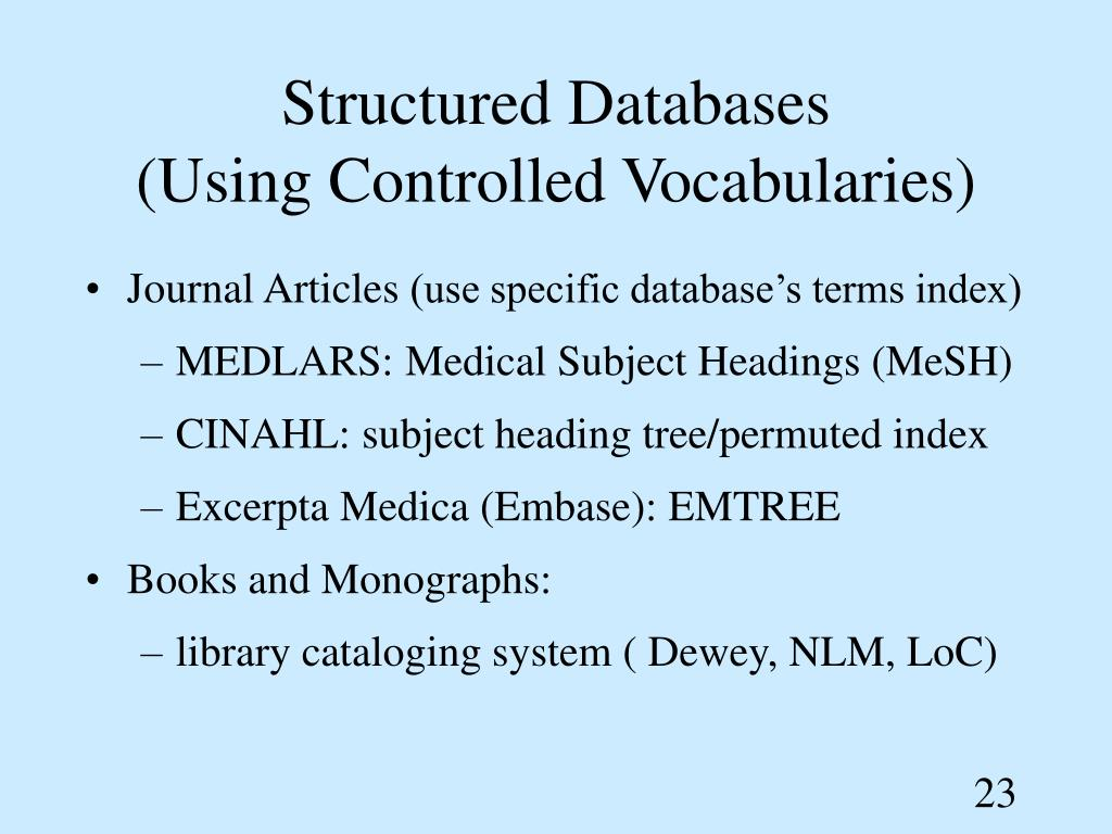 Structured Databases