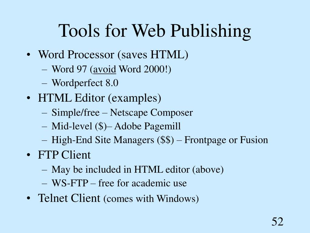 Tools for Web Publishing