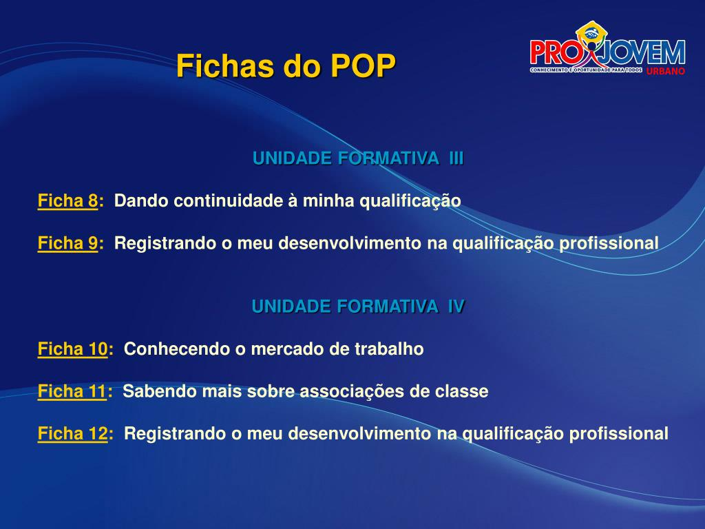 Fichas do POP