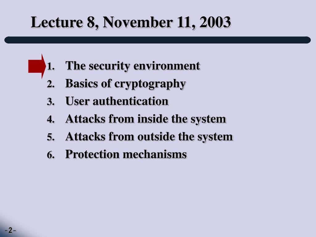 Lecture 8, November 11, 2003
