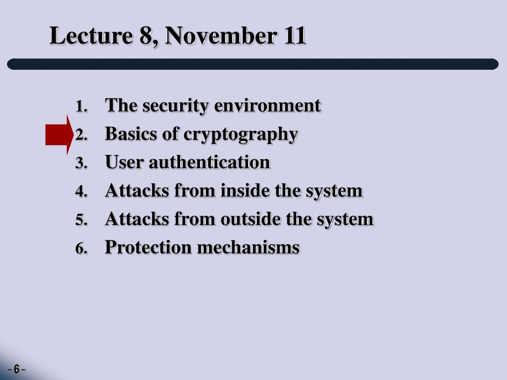 Lecture 8, November 11