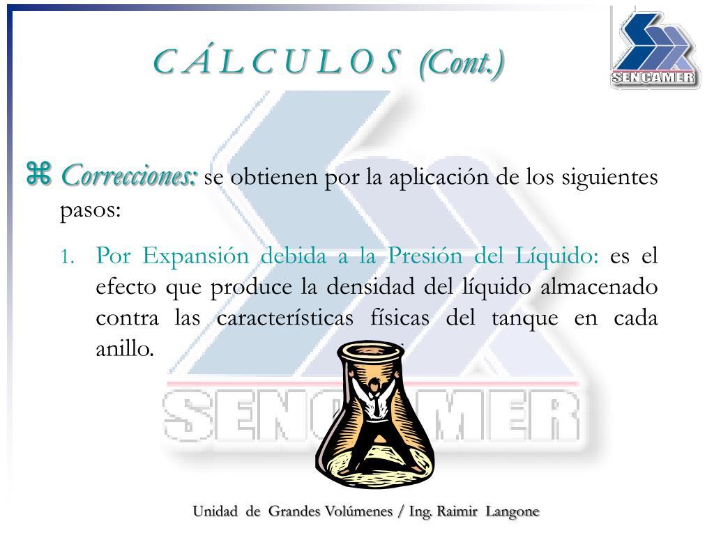 C Á L C U L O S  (Cont.)