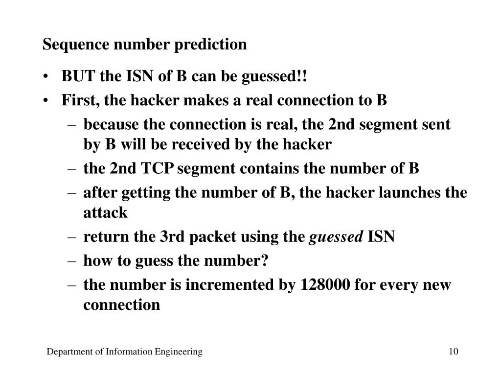 Sequence number prediction