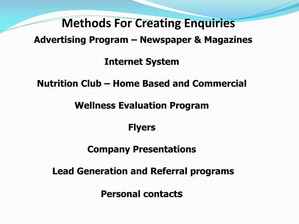 Methods For Creating Enquiries