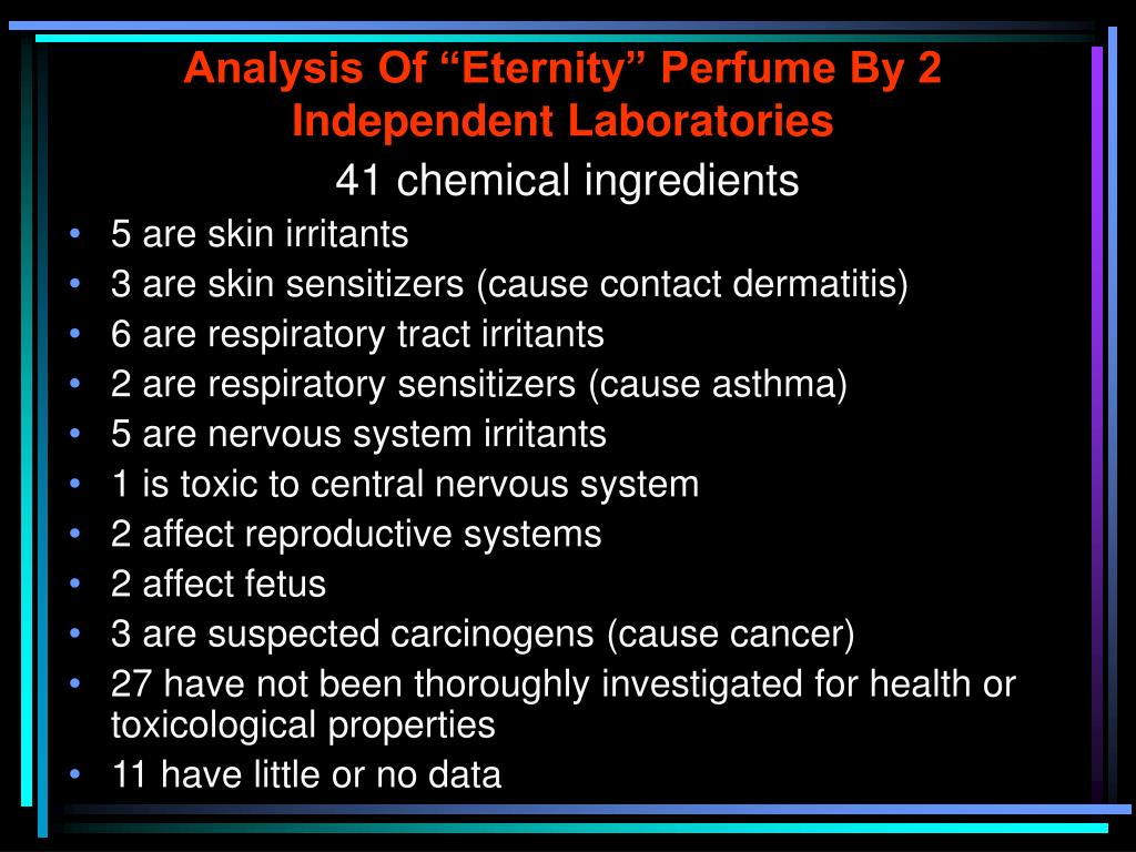 "Analysis Of ""Eternity"" Perfume By 2 Independent Laboratories"
