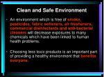 clean and safe environment