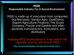 rise responsible industry f or a sound environment