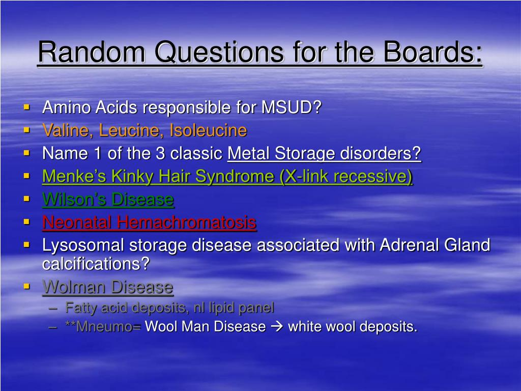 Random Questions for the Boards: