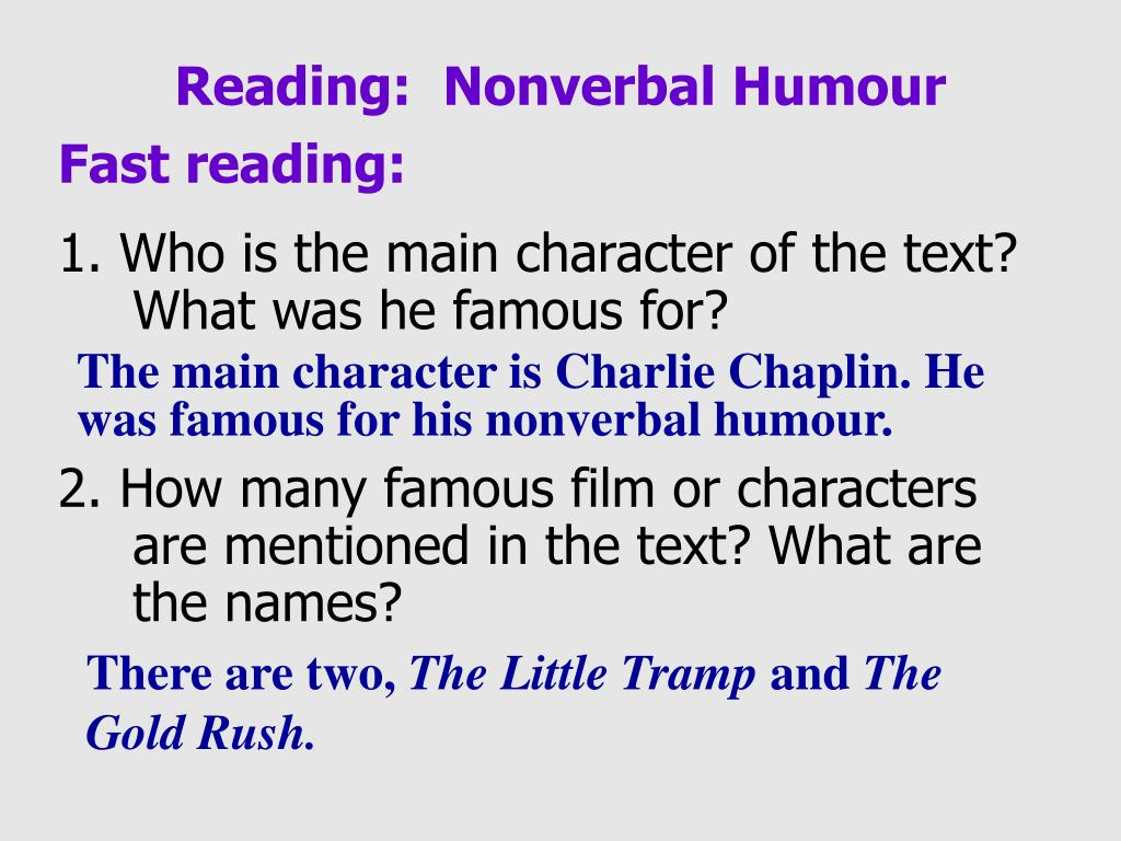 Reading:  Nonverbal Humour