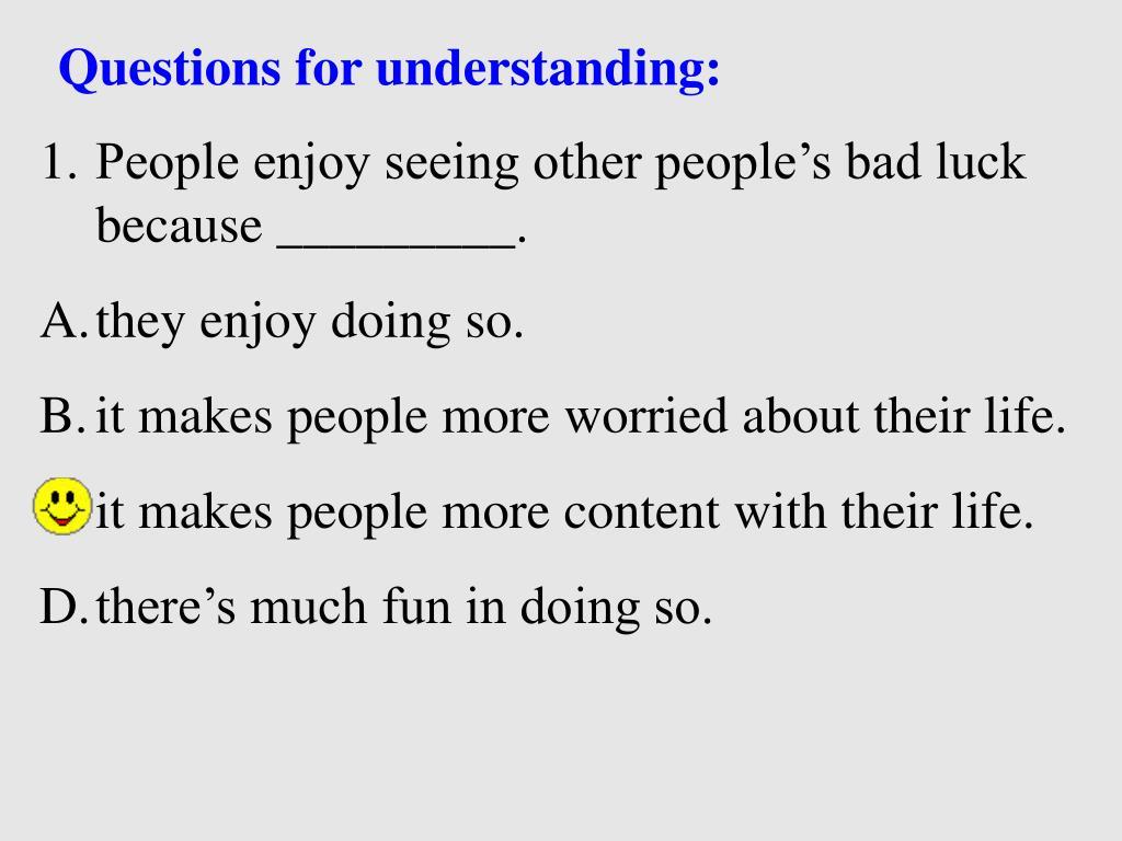 Questions for understanding: