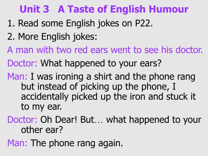 Unit 3 a taste of english humour