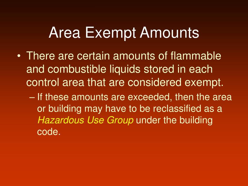 Area Exempt Amounts