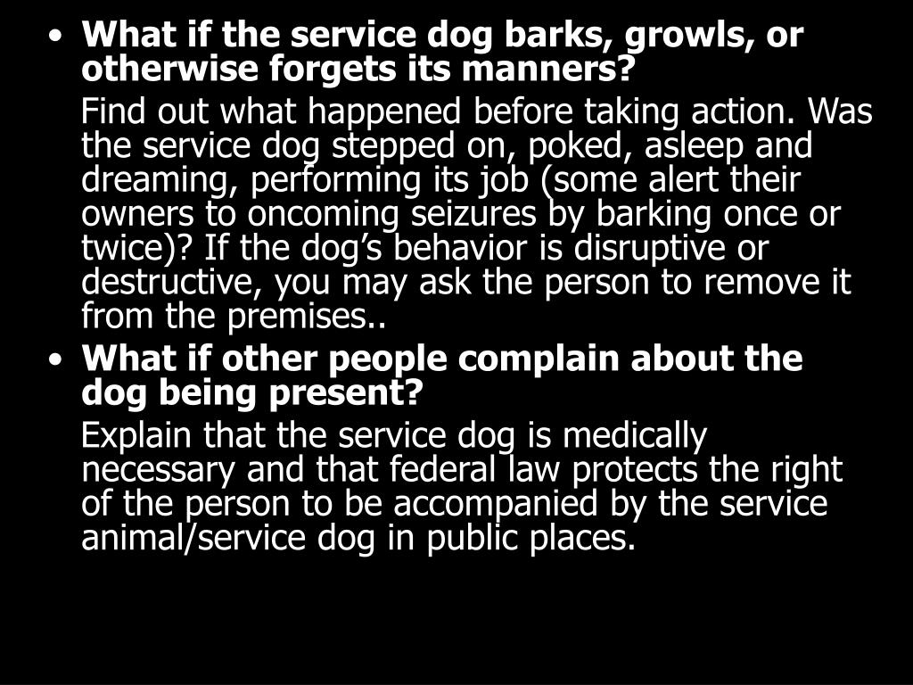 What if the service dog barks, growls, or otherwise forgets its manners?