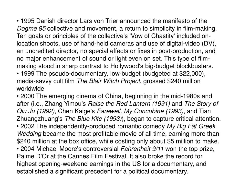 1995 Danish director Lars von Trier announced the manifesto of the