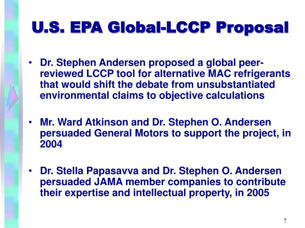 U.S. EPA Global-LCCP Proposal