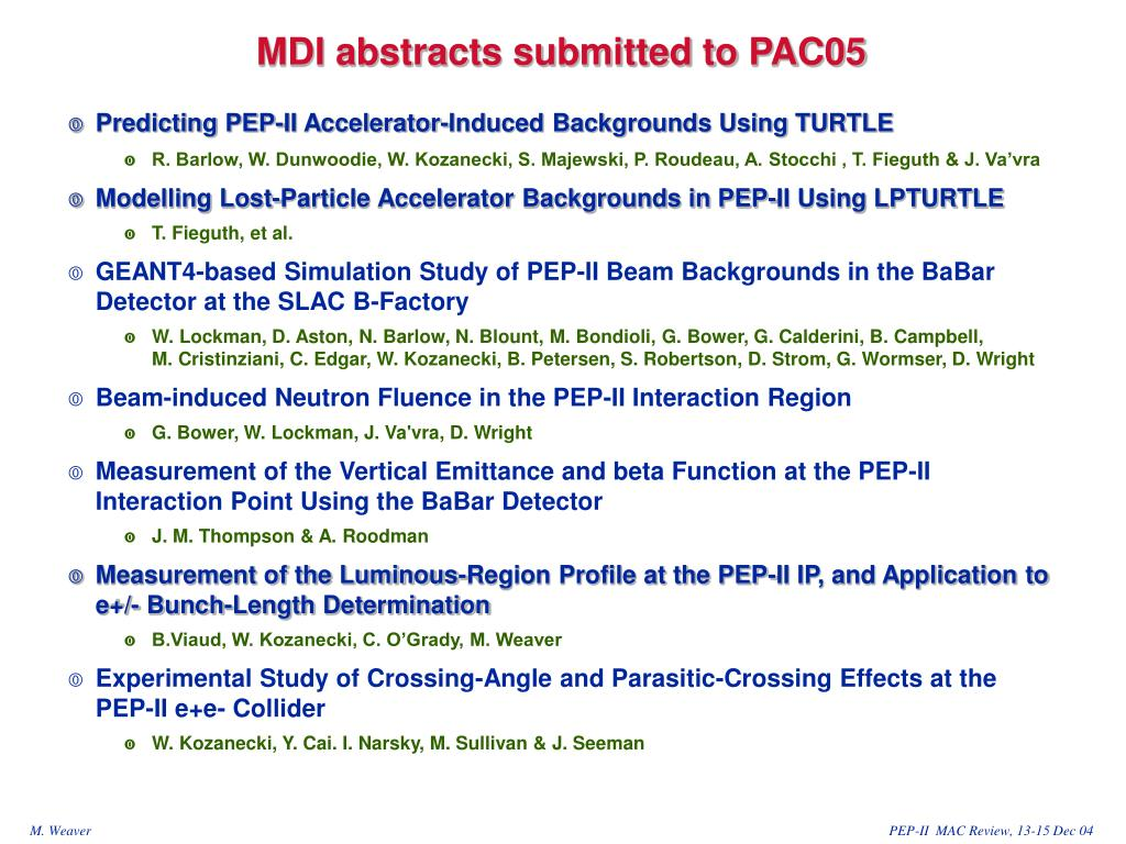 MDI abstracts submitted to PAC05