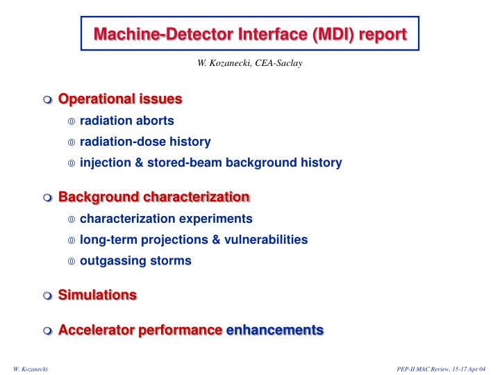 Machine detector interface mdi report