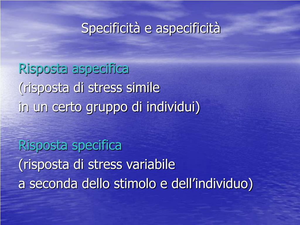 Specificità e aspecificità