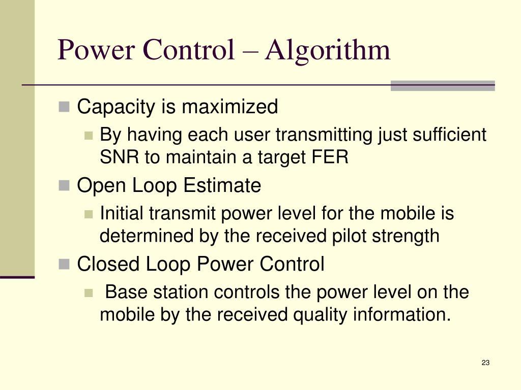 Power Control – Algorithm