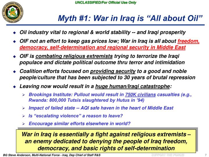 "Myth #1: War in Iraq is ""All about Oil"""