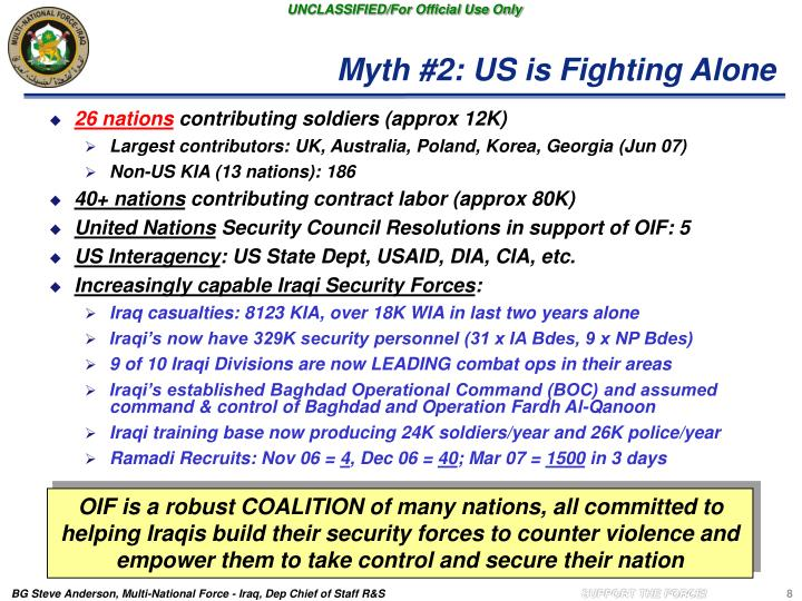 Myth #2: US is Fighting Alone