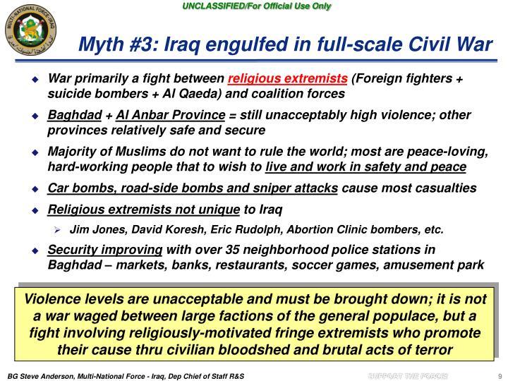 Myth #3: Iraq engulfed in full-scale Civil War