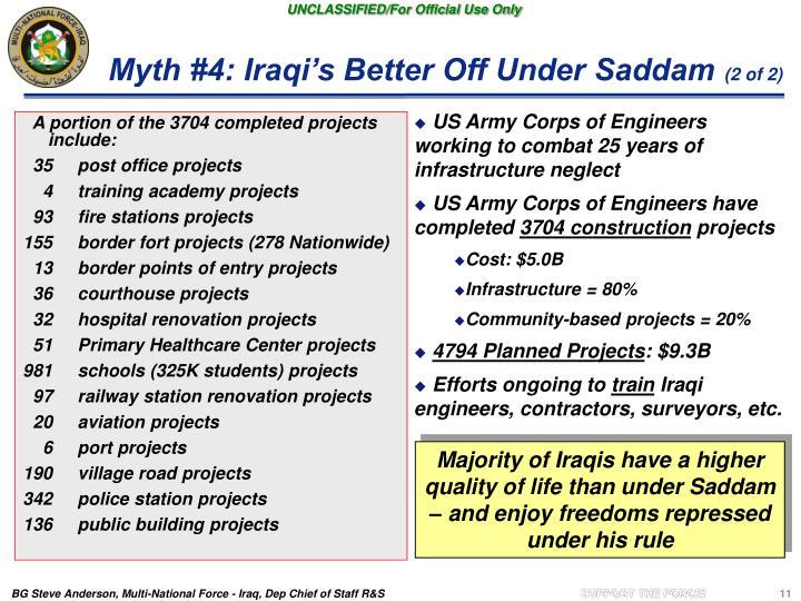 Myth #4: Iraqi's Better Off Under Saddam