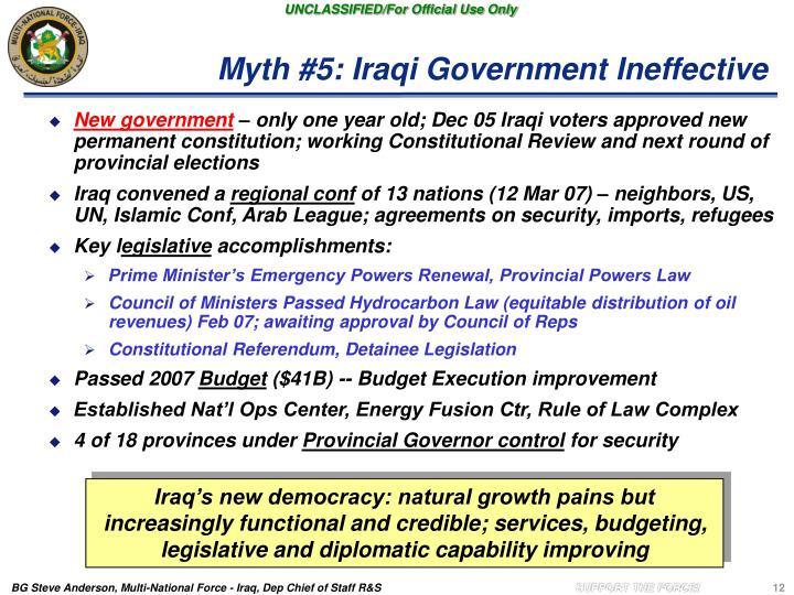 Myth #5: Iraqi Government Ineffective