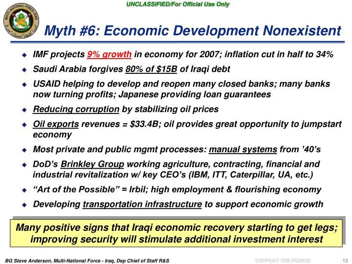 Myth #6: Economic Development Nonexistent