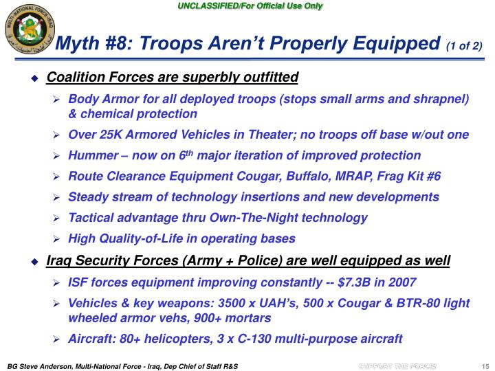Myth #8: Troops Aren't Properly Equipped