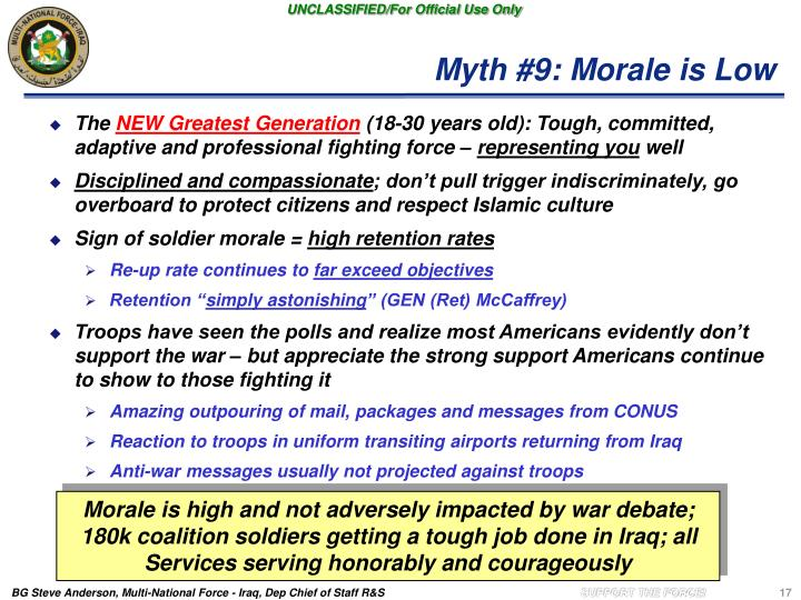 Myth #9: Morale is Low