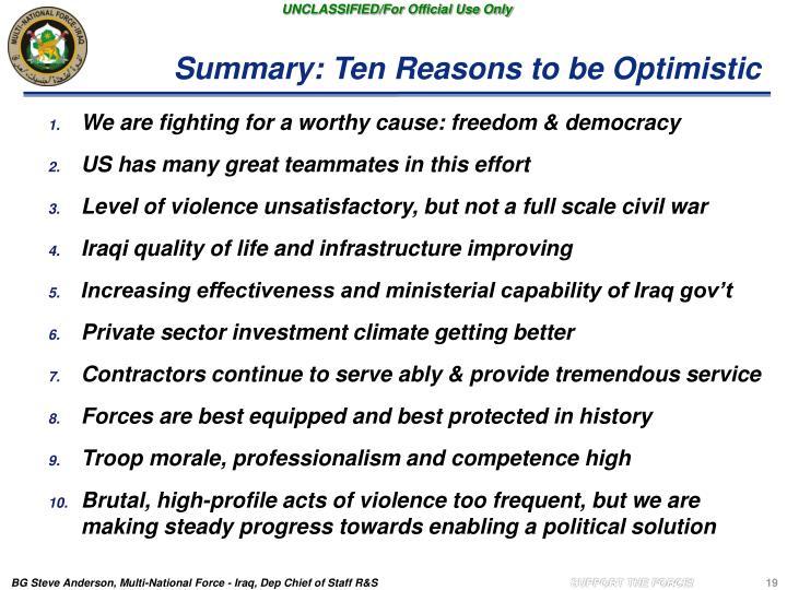 Summary: Ten Reasons to be Optimistic