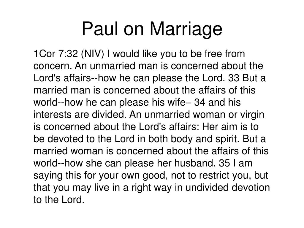 Paul on Marriage