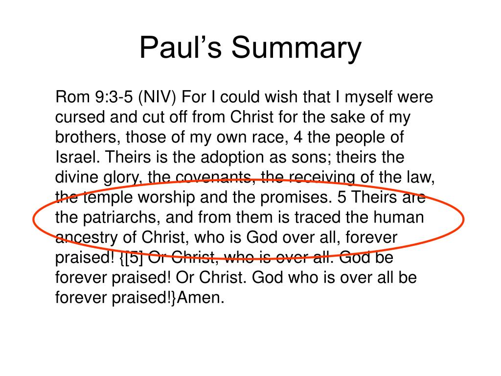 Paul's Summary