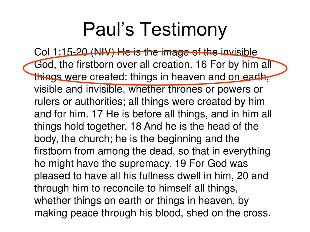 Paul's Testimony