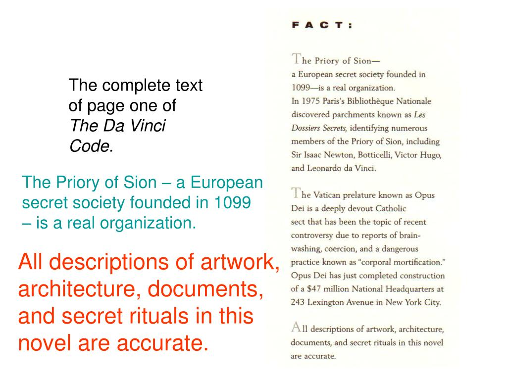 The complete text of page one of