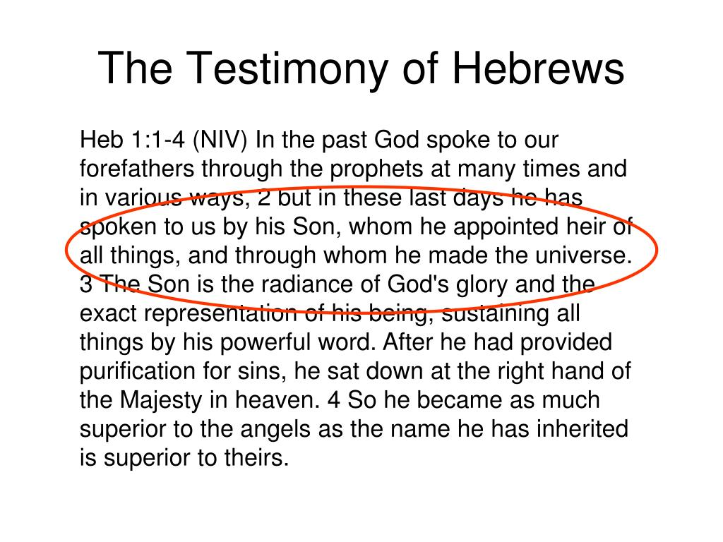 The Testimony of Hebrews