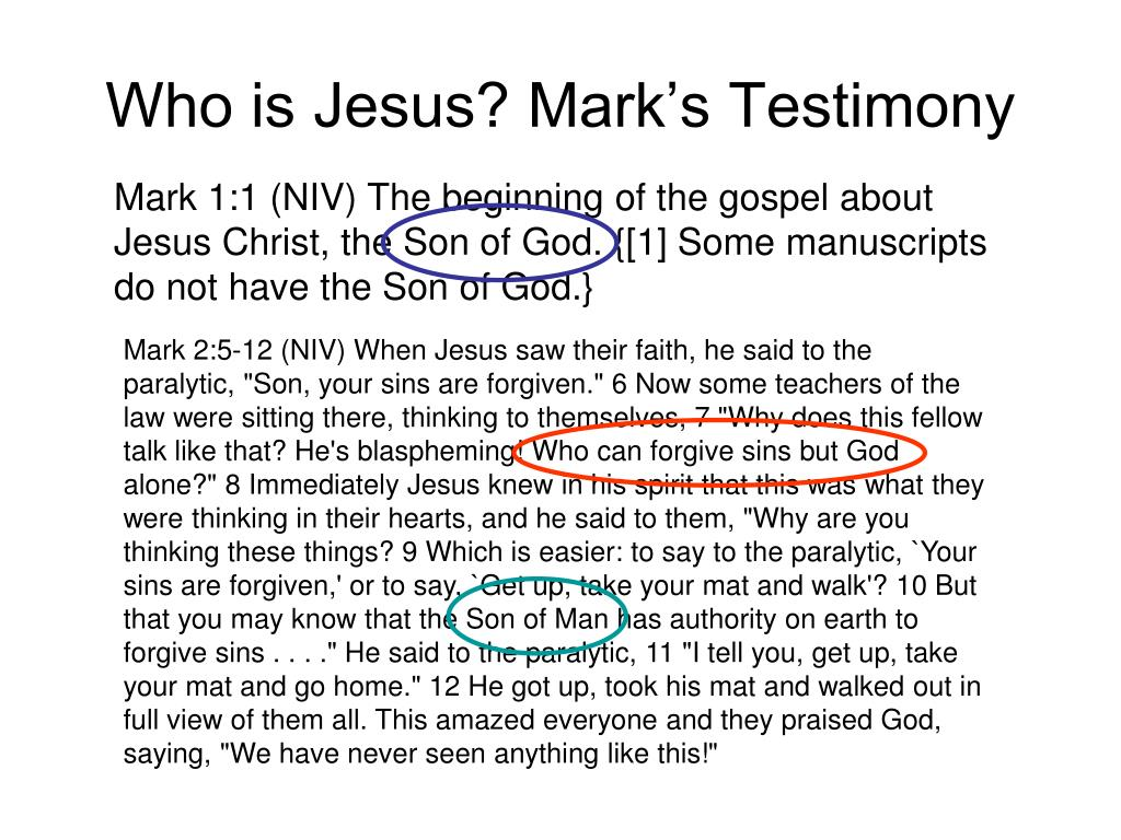 Who is Jesus? Mark's Testimony
