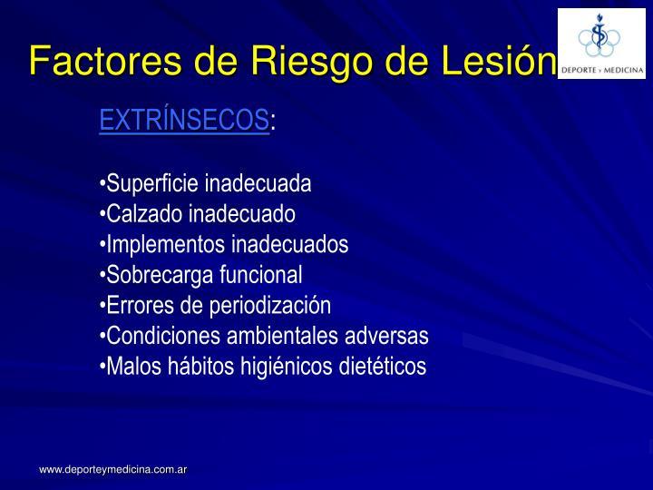 Factores de Riesgo de Lesión