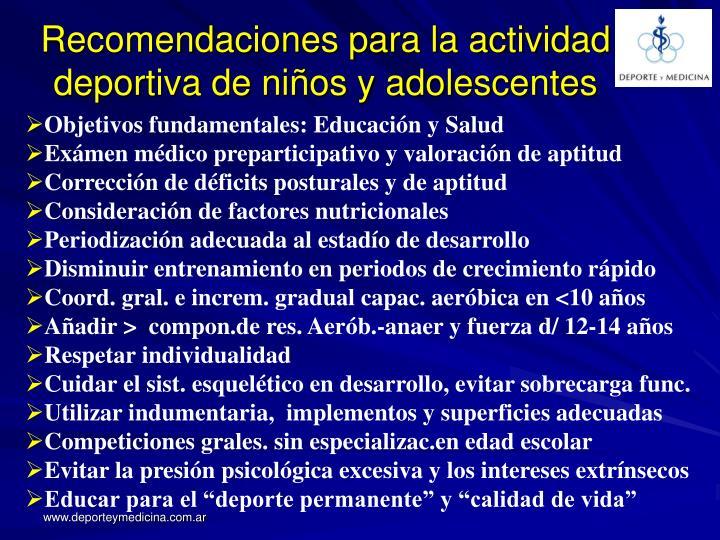 Recomendaciones para la actividad deportiva de niños y adolescentes