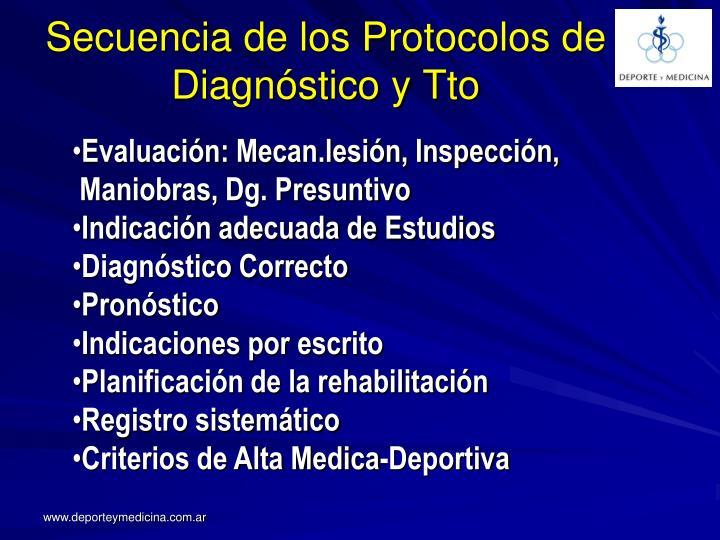 Secuencia de los Protocolos de Diagnóstico y Tto
